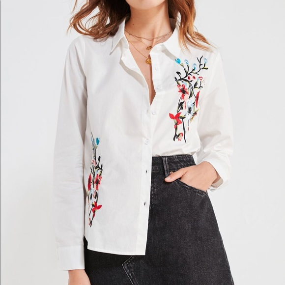 BDG Floral Embroidered Button-Down Shirt
